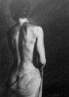 espalda dibujada desnudo a Lapiz