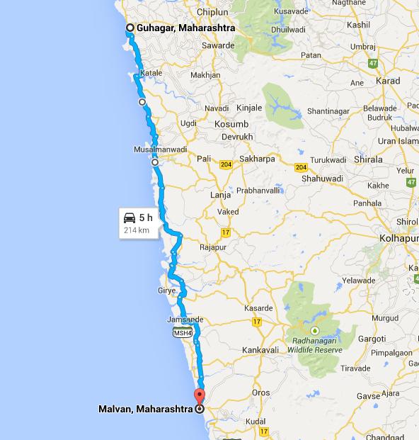 Guhagar to Malvan via ganpatipule sagari mahamarg