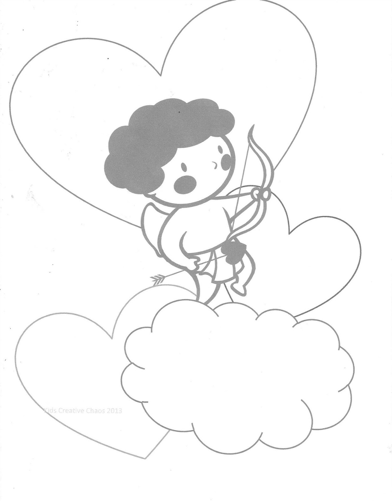 valentine conversation heart printables with cherub cupid coloring