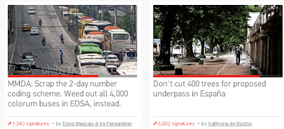 A Petition for MMDA: Scrap the 2 Day number coding scheme and petition to stop cutting the 400 trees for proposed España underpass.