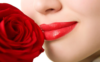 Red Lips Closeup With Red Rose Wallpaper