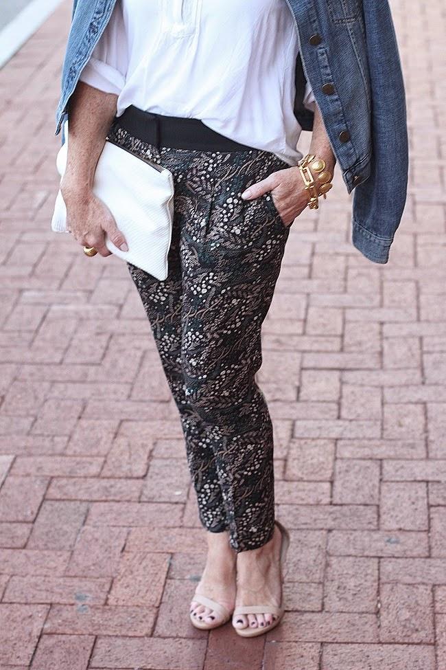 loft fluid floral pants, old navy shirt, clare v clutch, jcrew jean jacket, julie vos jewelry