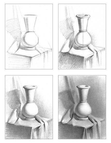 Рисование натюрморта поэтапно карандашом