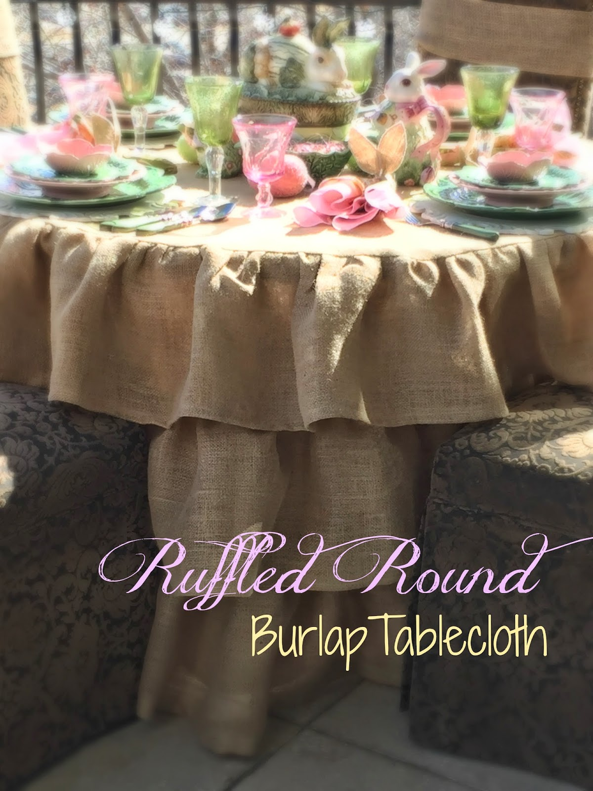 Merveilleux Ruffled Round Burlap Tablecloth Tutorial