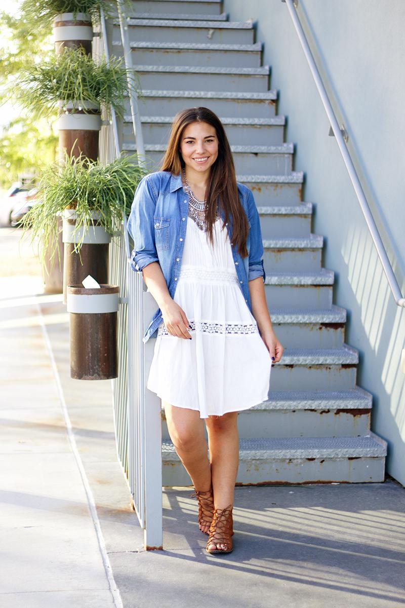 white dress bohemian outfit