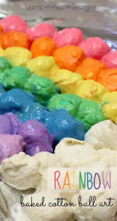 How to make rainbow art with baked cotton balls - inexpensive, open ended process art for kids