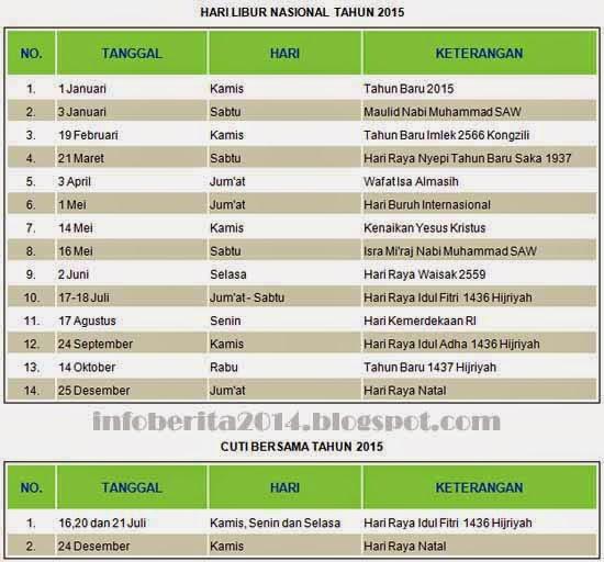Jadwal Hari Libur Nasional dan Cuti Bersama 2015