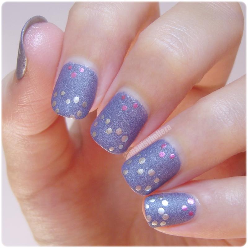 Nail art fácil corazones mate y brillo Reto puntos manicura sencillas violet easy nails hearts