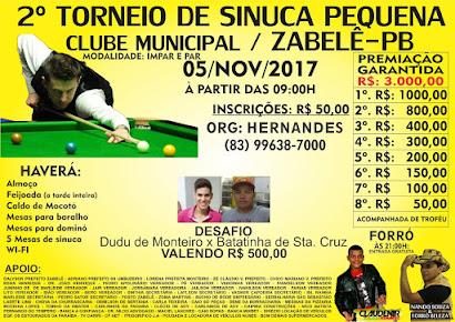 2º torneio de sinuca pequena - Zabelê-Pb