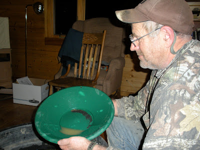 Panning gold in the cabin in Montana