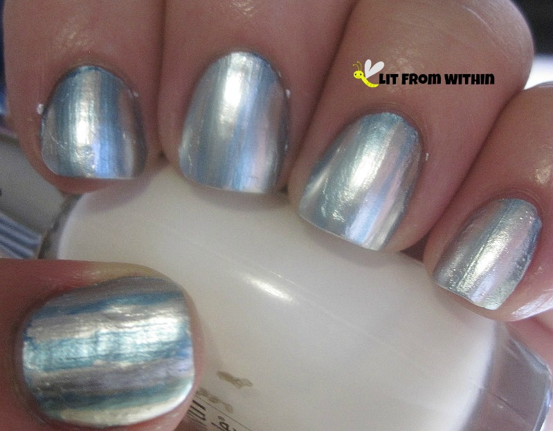 freehand stripes with SephoraX Glacier, a silver metallic foil