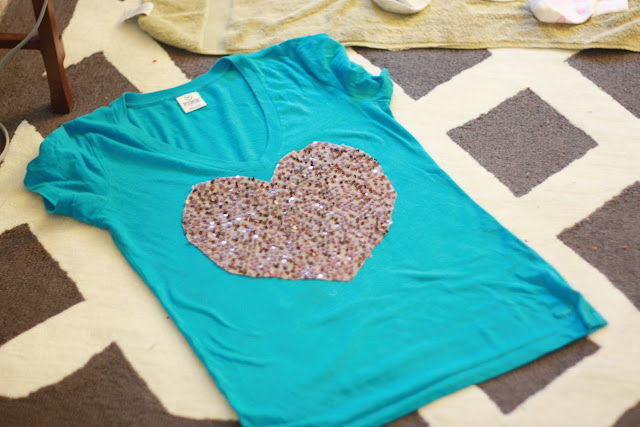 diy sequin heart sweater