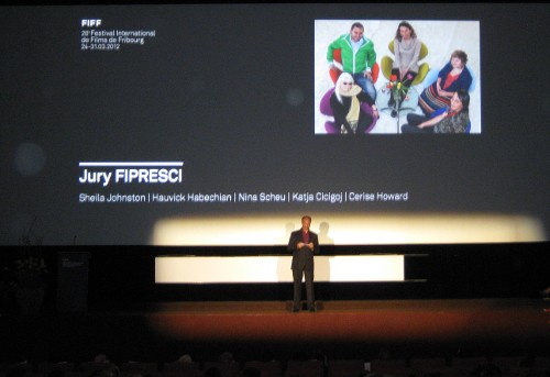 Announcement of the winner of the FIPRESCI Jury award at the 2012 FIFF