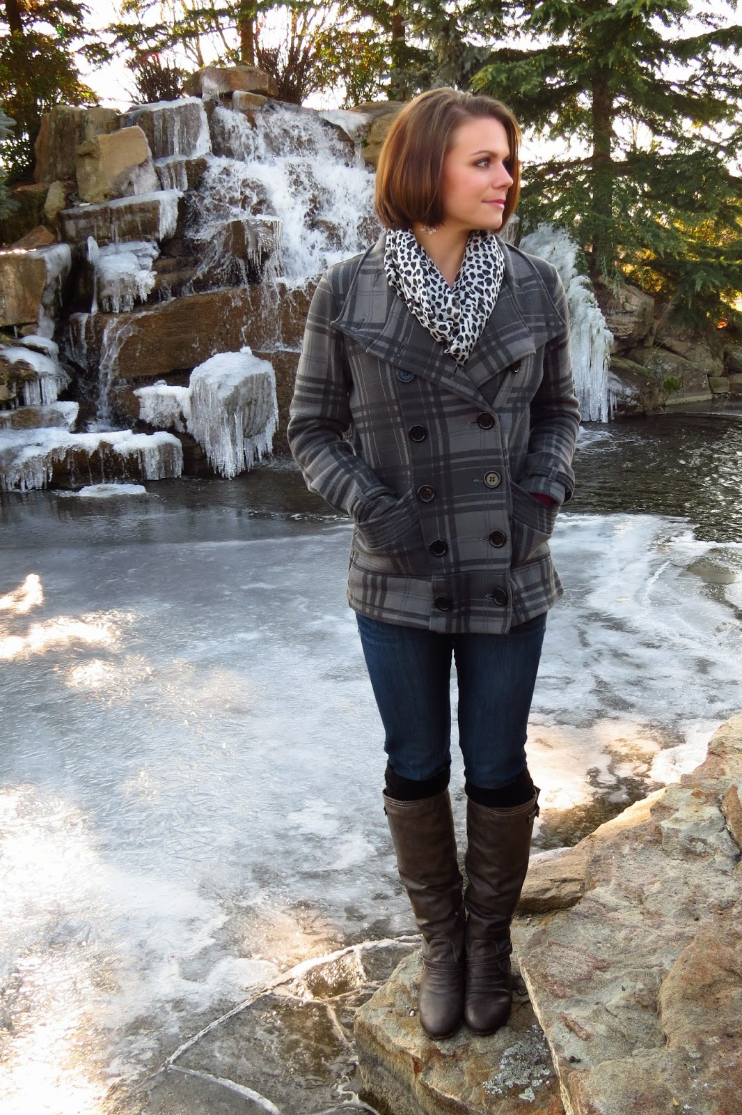 Winter basics, plaid peacoat, infinity scarf from a pashmina