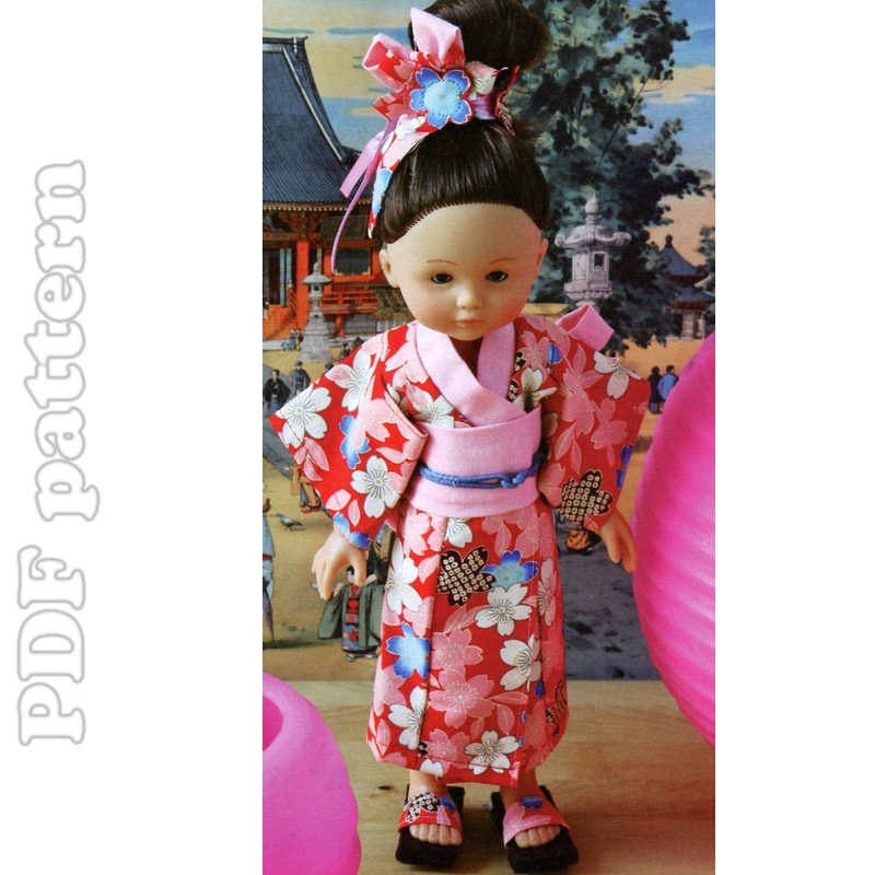 13in Doll Kimono, Shoes and Headdress Sewing Pattern | CraftyLine e ...