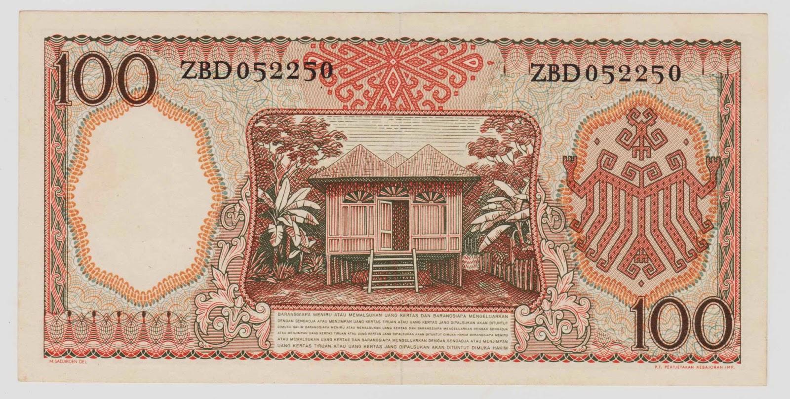 uang kuno Seri pekerja tangan tahun 1958 pecahan 100 rupiah