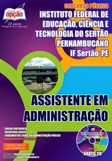 Apostila Concurso Instituto Federal do Sertão Pernambucano (IFPE) ASSISTENTE EM ADMINISTRAÇÃO - 2014