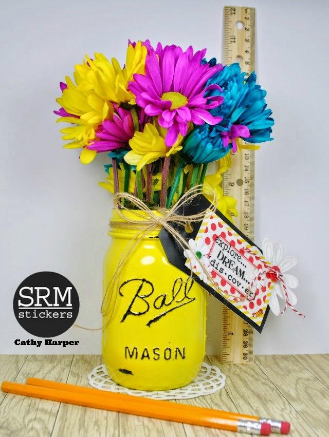 SRM Stickers Blog - Back to School Jars by Cathy H. - #school #gift #teacher #stickers #twine #mason jar