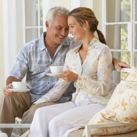 older-man-dating -younger-woman-on-patio-square - Does Age Gap Matter