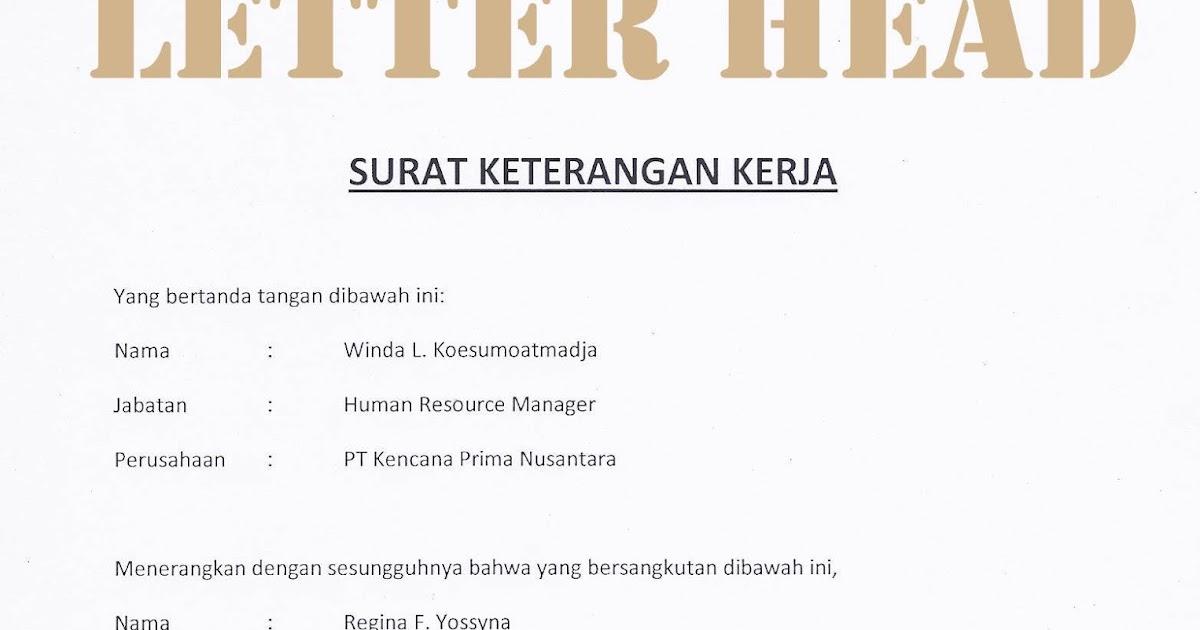 Catatan Iseng Contoh Surat Keterangan Kerja Untuk Pembukaan