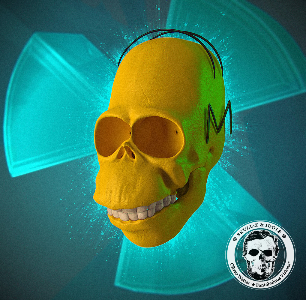 Skull portrait of Homer Simpson