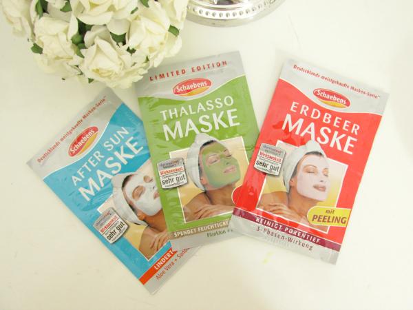 Schaebens Masken Gesichtsmasken Review, Erfahrungen, after sun, thalasso, erdbeer