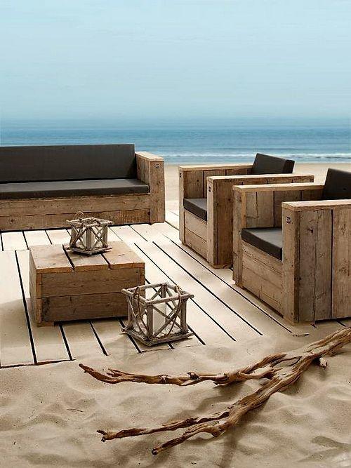mueblesdepaletsnet set de muebles con palets para la playa - Muebles Palets