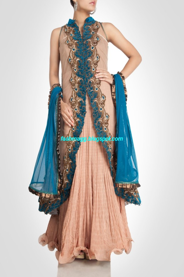Fashion Style Indian Bridal Anarkali Double Shirt Frocks Suits Photos Collections 2014 Gaurav