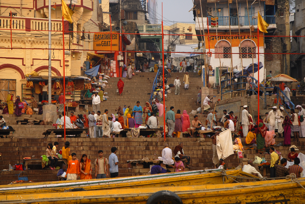Photo of Dasashwamedh Ghat in Varanasi in Uttar Pradesh, India.