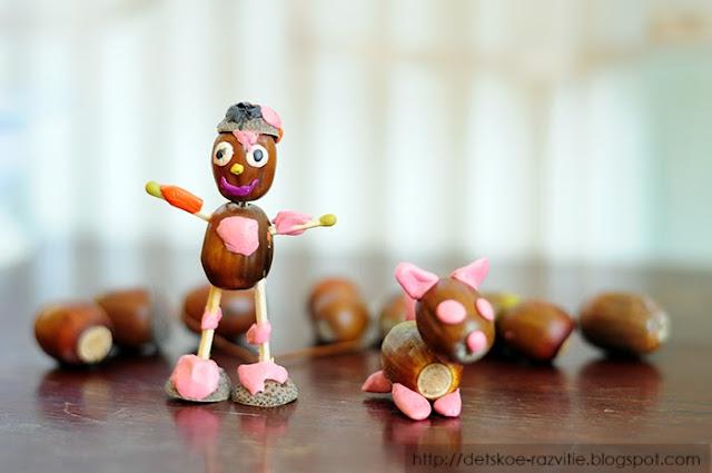 детские поделки из желудей