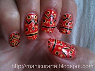 tribal red nailart