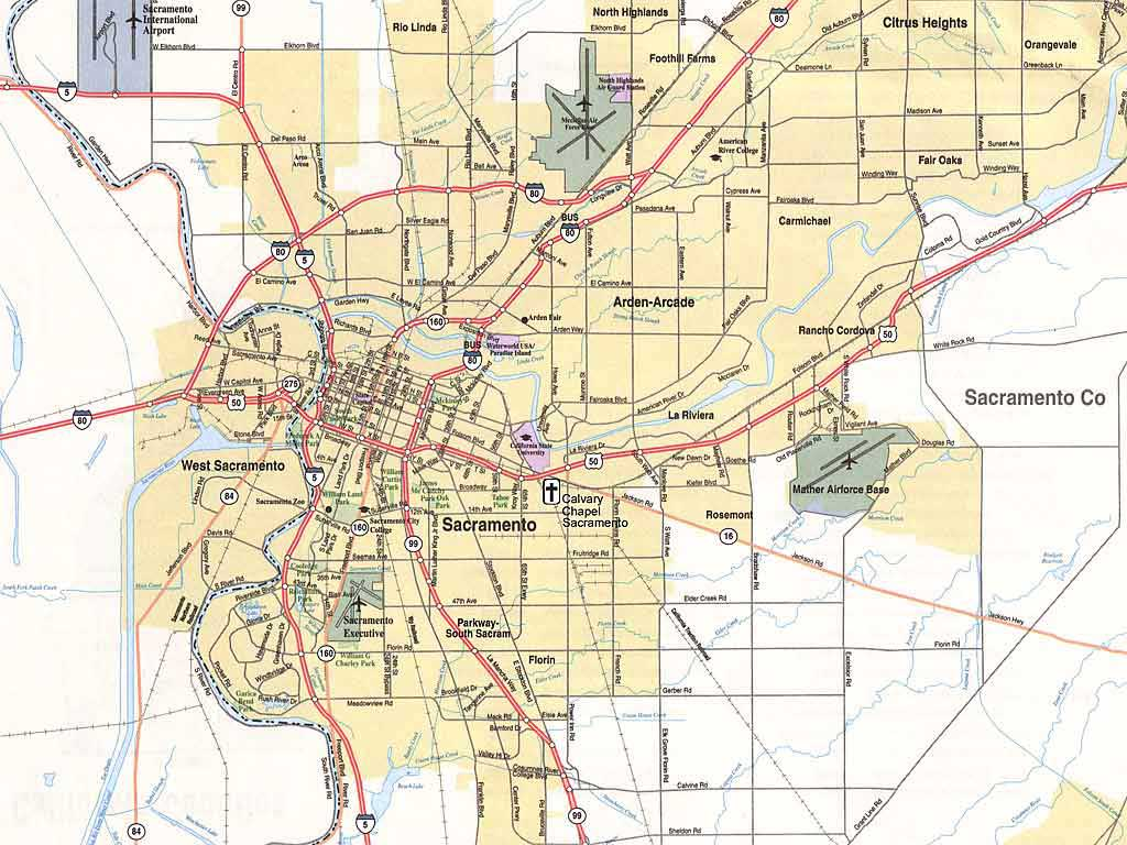Sacramento Map  Free Printable Maps