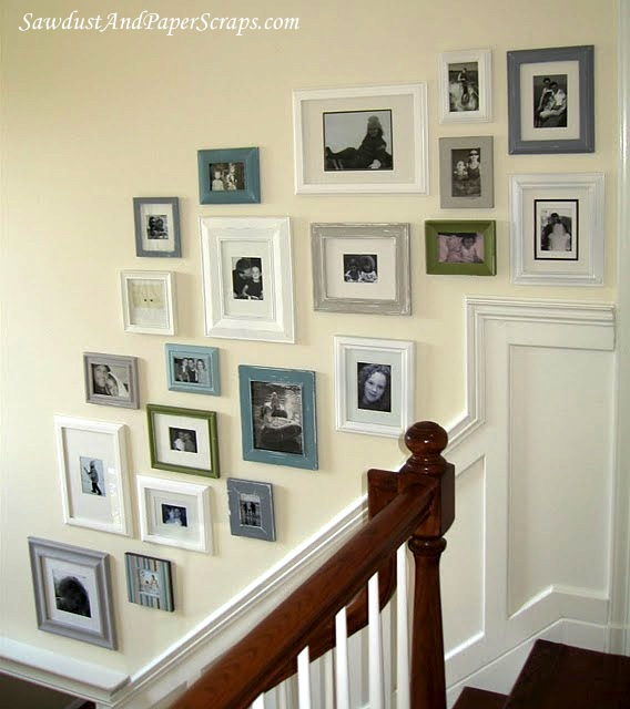 Photo display ideas staircase photo galleries for Hanging frames on walls