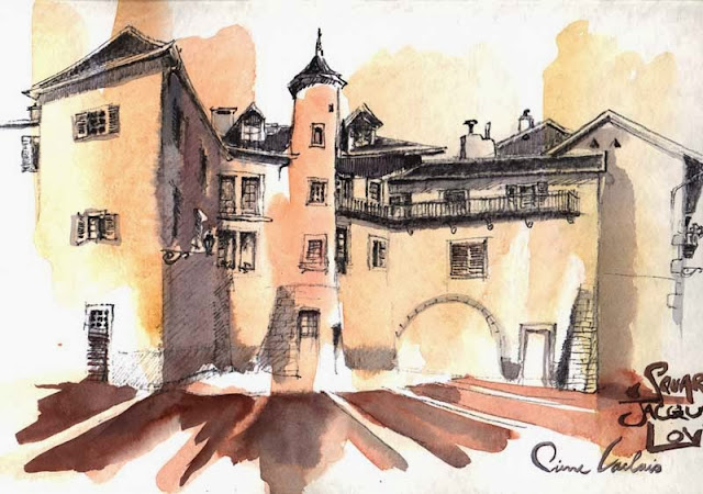 aquarelle du square Jacques Lovie à Chambéry