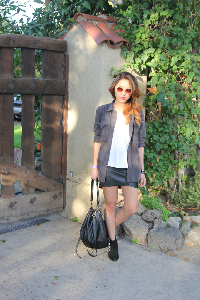 Equipment Femme, Zara buckled ankle boots, leather skirt, beautybitten