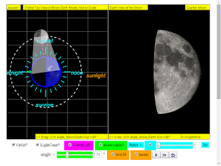 when day =8, it is quarter moon click to run: EJSS Moon Phases Model offline: DOWNLOAD, UNZIP and CLICK *.html to run source: EJSS SOURCE CODES original author: Todd Timberlake, lookang author of EJSS version: lookang