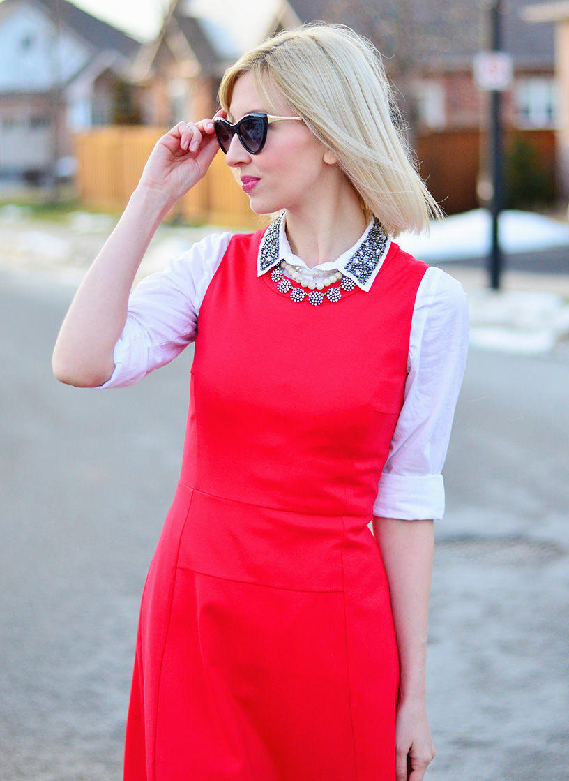Red for Valentines with Wool Shift Dress. - Stripes and Vibes