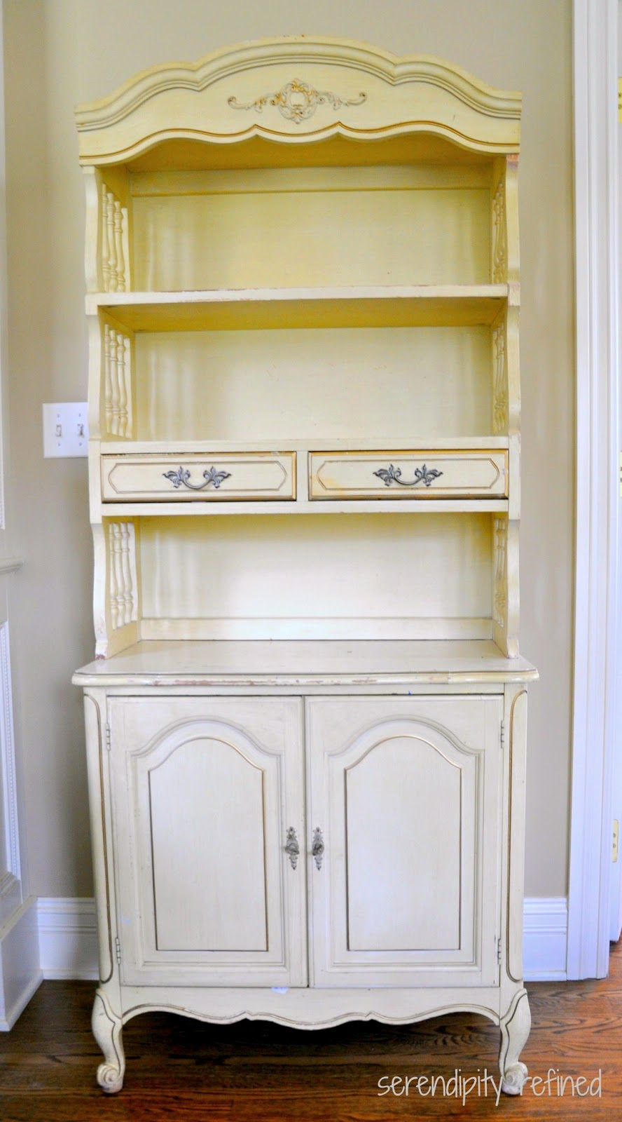 Before And After: La Craie Gray And White French Painted Cabinet Makeover