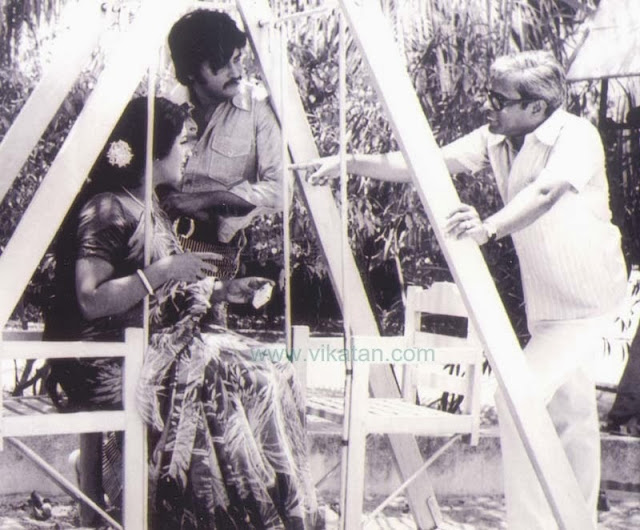 'Thalaivar' Rajinikanth, Sri Vidya & Director K. Balachander in 'Apoorva Ragangal' Shooting Spot