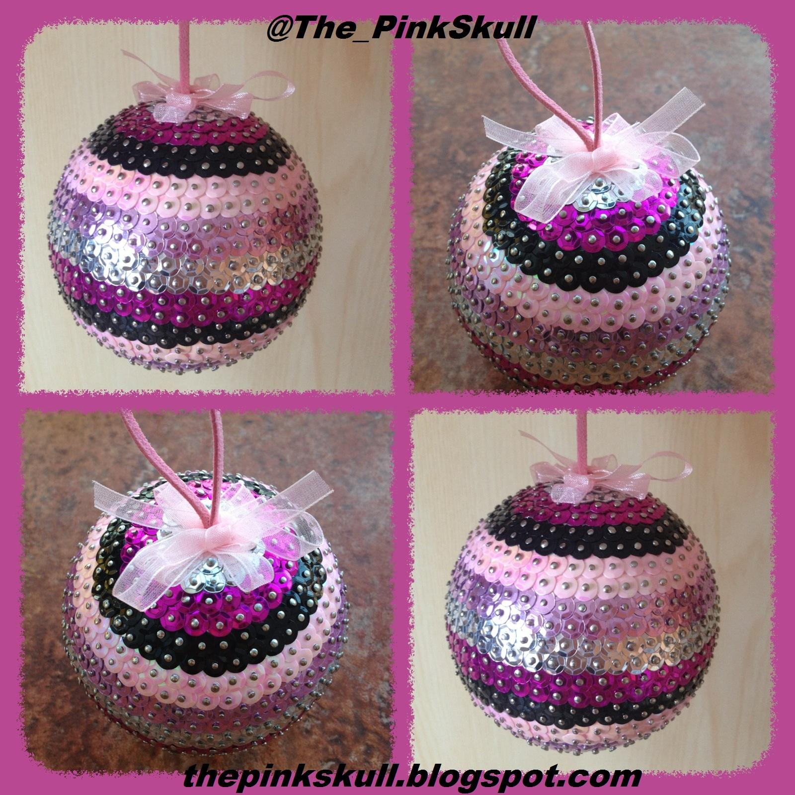 The pink skull bola de navidad con lentejuelas - Bolas de navidad grandes ...