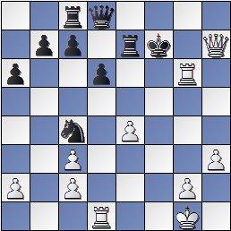 Posición de la partida de ajedrez Ramón Crusi Moré - John Armstrong después de 26. Dh7+