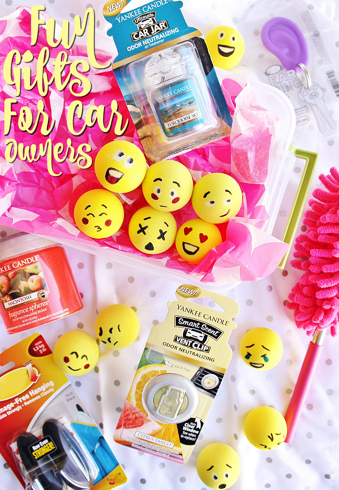 New Driver, Commuter, New Car Owner, or Car Lover Gift Ideas to add personality and style without breaking the bank. Yankee Candle® brand on-the-go fragrance products and D.I.Y. Emoji Antenna Toppers top the list! #LoveAmericanHome (ad)