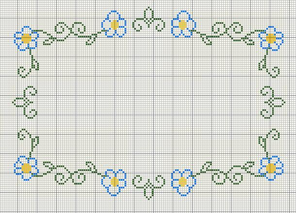Buzy Bobbins: Green, blue and yellow cross stitch flower