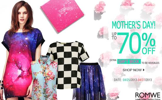 Mothers Day Special Offer 70% off and Mystery Gift at Romwe!