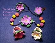 Fiori di Loto PuPazziellosi gomma crepla e perle di cartapesta, handmade