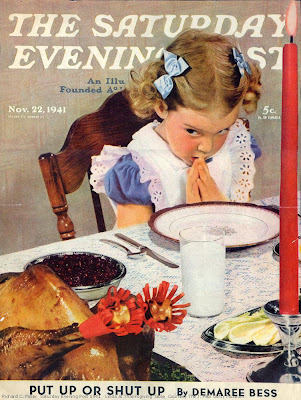 Saturday Evening Post girl saying blessing
