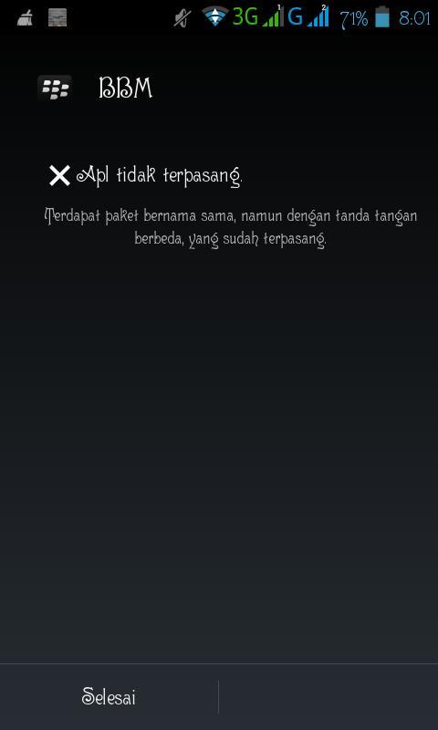 Aplikasi tidak terpasang