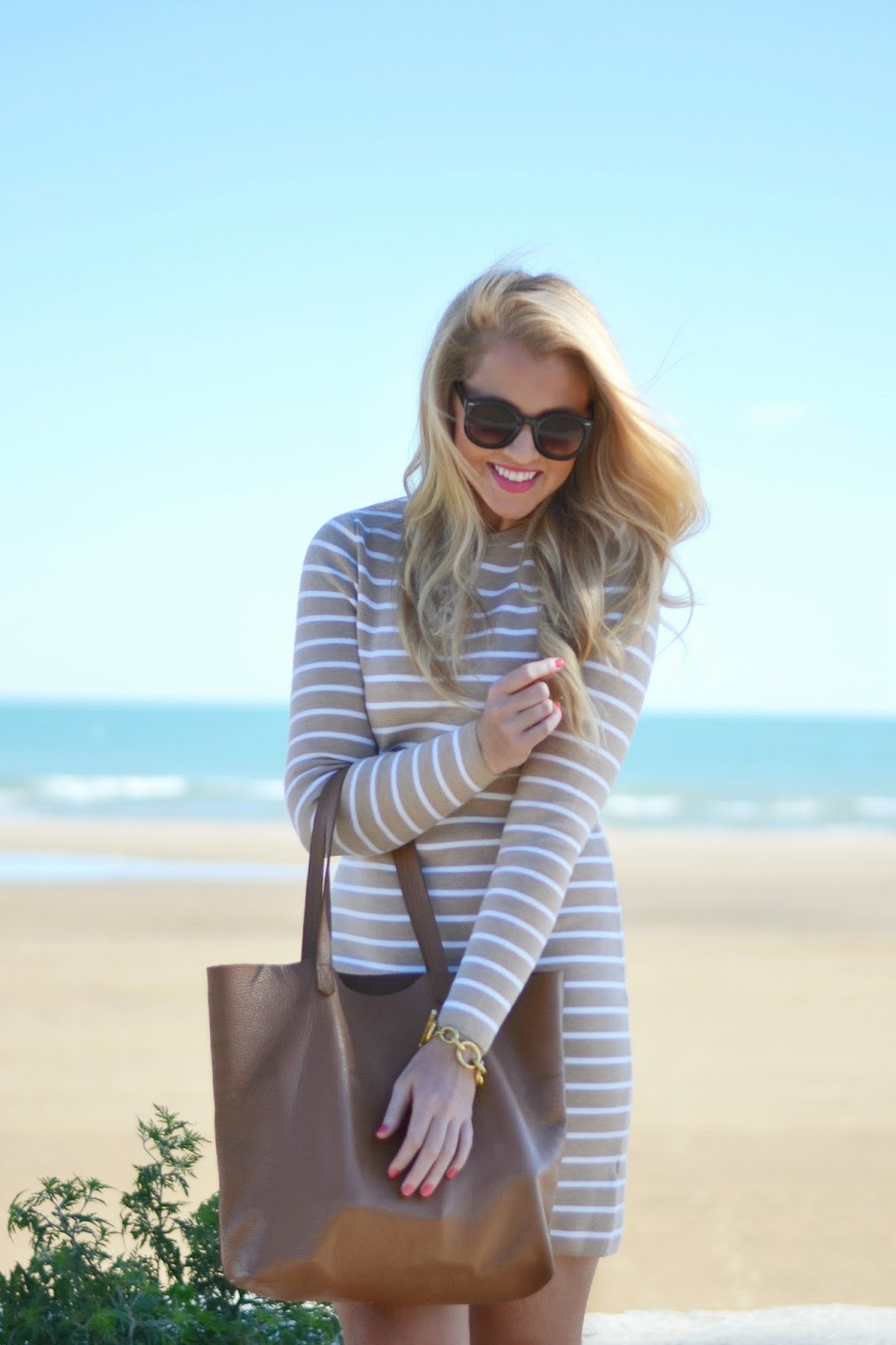 tan and white stripe stripe dress vineyard vines