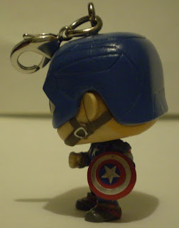 Left side of Captain America Pocket Pop Keychain out of the box