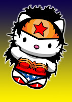 Hello Kitty in Wonderwoman costume